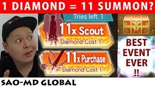 Best Event Ever !! 1 Diamond For 11 Summon !? (Sword Art Online Memory Defrag Global)