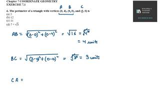 6. The perimeter oḟ a triangle with vertices (0, 4), (0, 0), and (3, 0) is