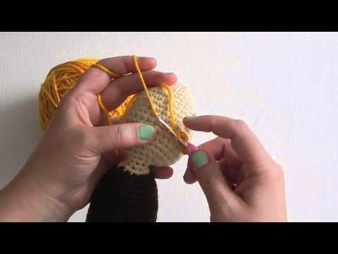 Putting Hair on Crocheted Dolls | | 360x480