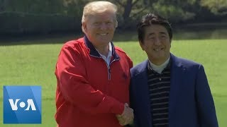 Trump, Shinzo Abe Arrive at Golf Course in Japan
