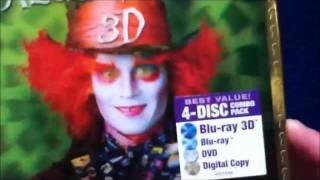 Unboxing Alice in Wonderland Blu-Ray/Blu-Ray 3D/DVD/Digital Copy