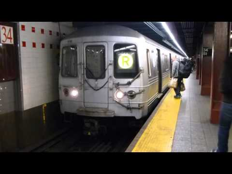 IND 6th Ave Line: R46 R Train at 34th St-Herald Square (Weekend-Via 6th Ave Line)