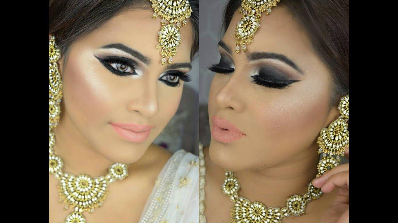 bridal makeup inspired| dramatic black smokey eyes with subtle lips|makeupbyazmeree