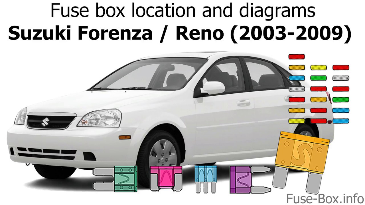 fuse box location and diagrams: suzuki forenza / reno (2003-2009 ...  youtube
