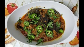 Bhagary Baingan pure vegetarian recipe by easy cooking with Shazia