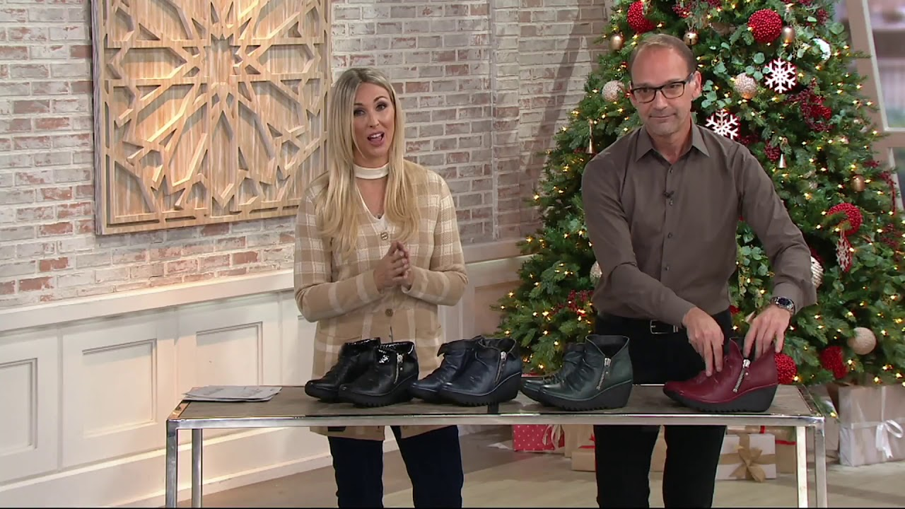available new york discount sale FLY London Leather Wedge Ankle Boots - Yoxi on QVC - YouTube