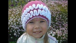 Вязание крючком Летняя шапочка с рюшами для девочки Видео