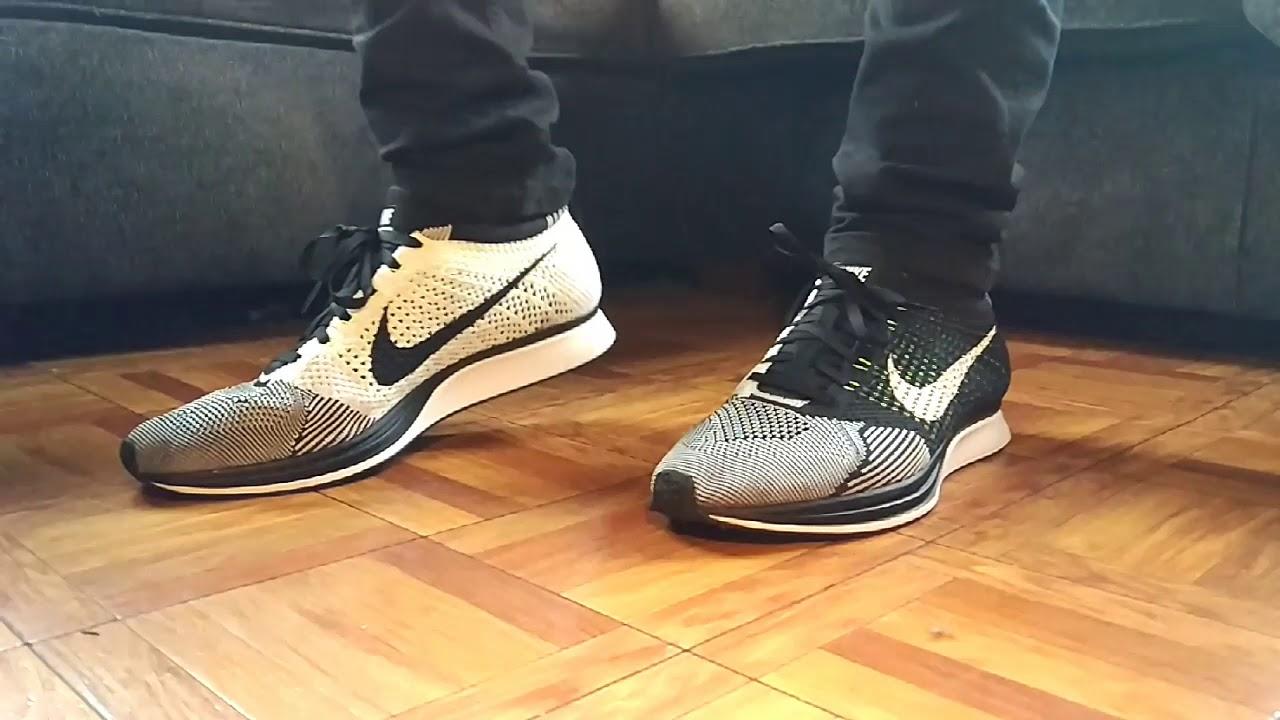 22a1a98b57fba Nike Flyknit Racer Oreo SLOW MOTION super skinny black jeans - YouTube