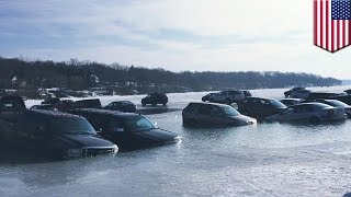 Drone footage: video shows cars sinking into the icy water of Wisconsin