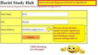 Check Already Registered Email While Registration in Asp.Net C# | Hindi | Free Online Classes