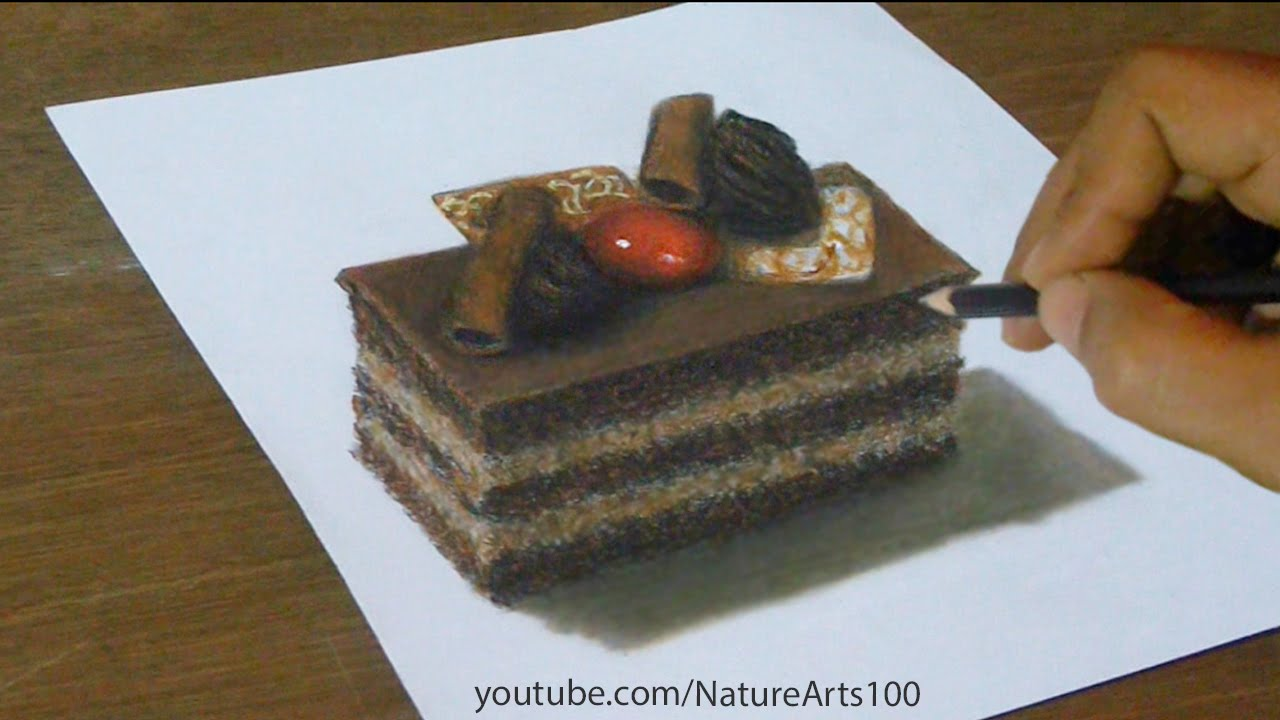 3D Drawing Chocolate Cake Trick Art Optical Illusion