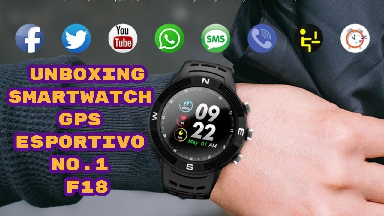 Unboxing No 1 F18 Smartwatch Esportivo Gps