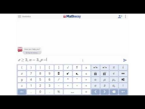 Find the Probability of a Binomial Distribution - YouTube Mathway Statistics on