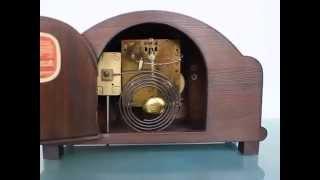Junghans Vintage Clock Germany Gong Chime Oak Wood Mantel Shelf