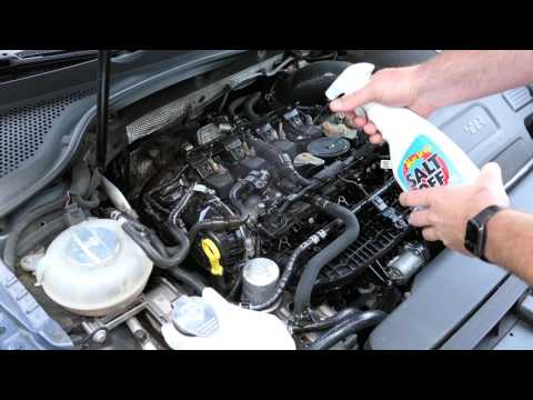 Cleaning Road Salt off the Volkswagen Golf R Engine - Star brite Salt Off Protectant