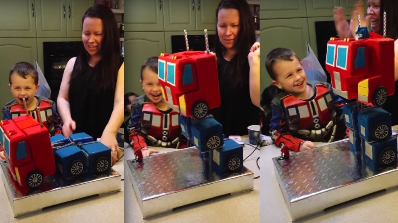 Transforming Birthday Cake Optimus Prime YouTube
