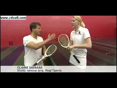 TV presenter Mike Bushell tries real tennis with a trench