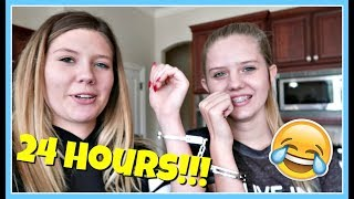 24 Hours overnight challenge hanging out with my sister || Taylor and Vanessa