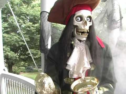 grandin road animated halloween skeleton pirate youtube - Animated Halloween Decorations