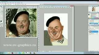 Компьютерный шарж по фото(Просто рисуем на планшете vacom в програме Adobe Photoshop. Делаем шарж по фотографии известных актеров советского..., 2015-04-24T19:03:31.000Z)