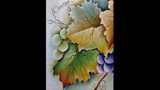 Como pintar um galho de uvas com folhas. Projeto gratuito A parreira. Aula 2