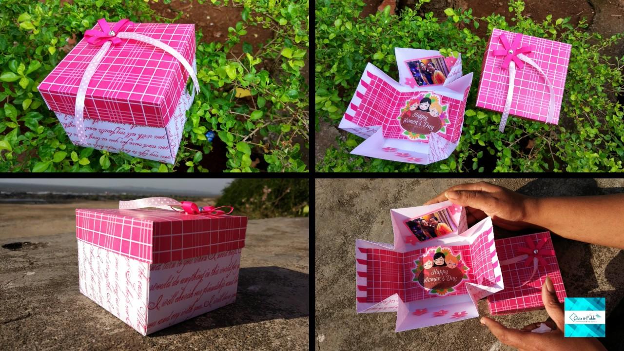 Women S Day Mini Explosion Box Craft Ideas Handmade Card Youtube