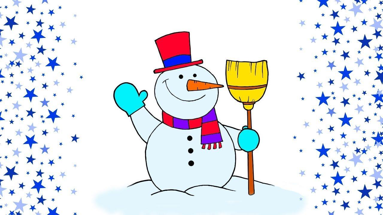 Kardan Adam Ve Yılbaşı Ağacı çizme Ve Boyama çocuklar Için Boyama