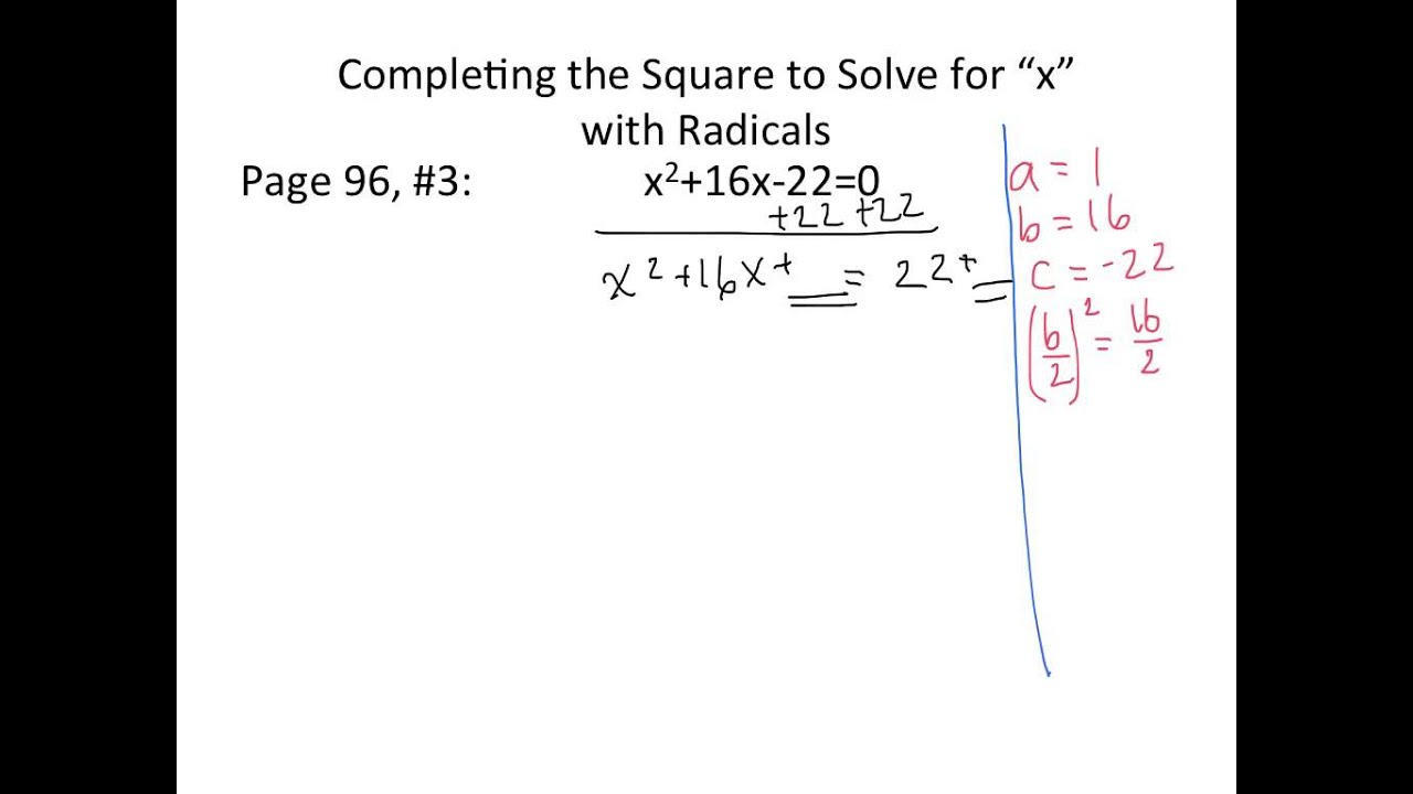 Completing The Square 2 With Radicals