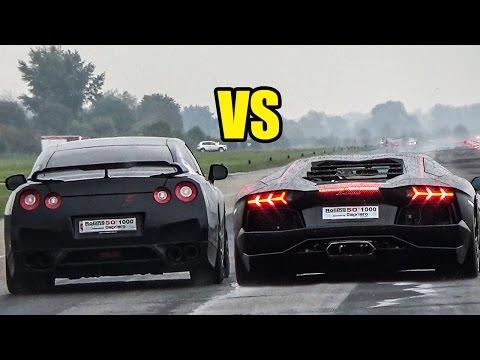 Nissan GTR R35 VS Lamborghini Aventador LP700-4 - DRAG RACE!