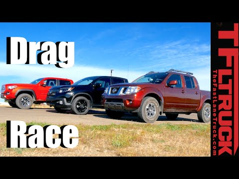 2017 Honda Ridgeline vs Toyota Tacoma vs Nissan Frontier 3-Way Drag Race