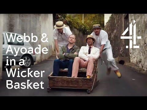 Robert Webb & Richard Ayoade Slide Downhill in a Wicker Basket at 30mph!  Travel Man