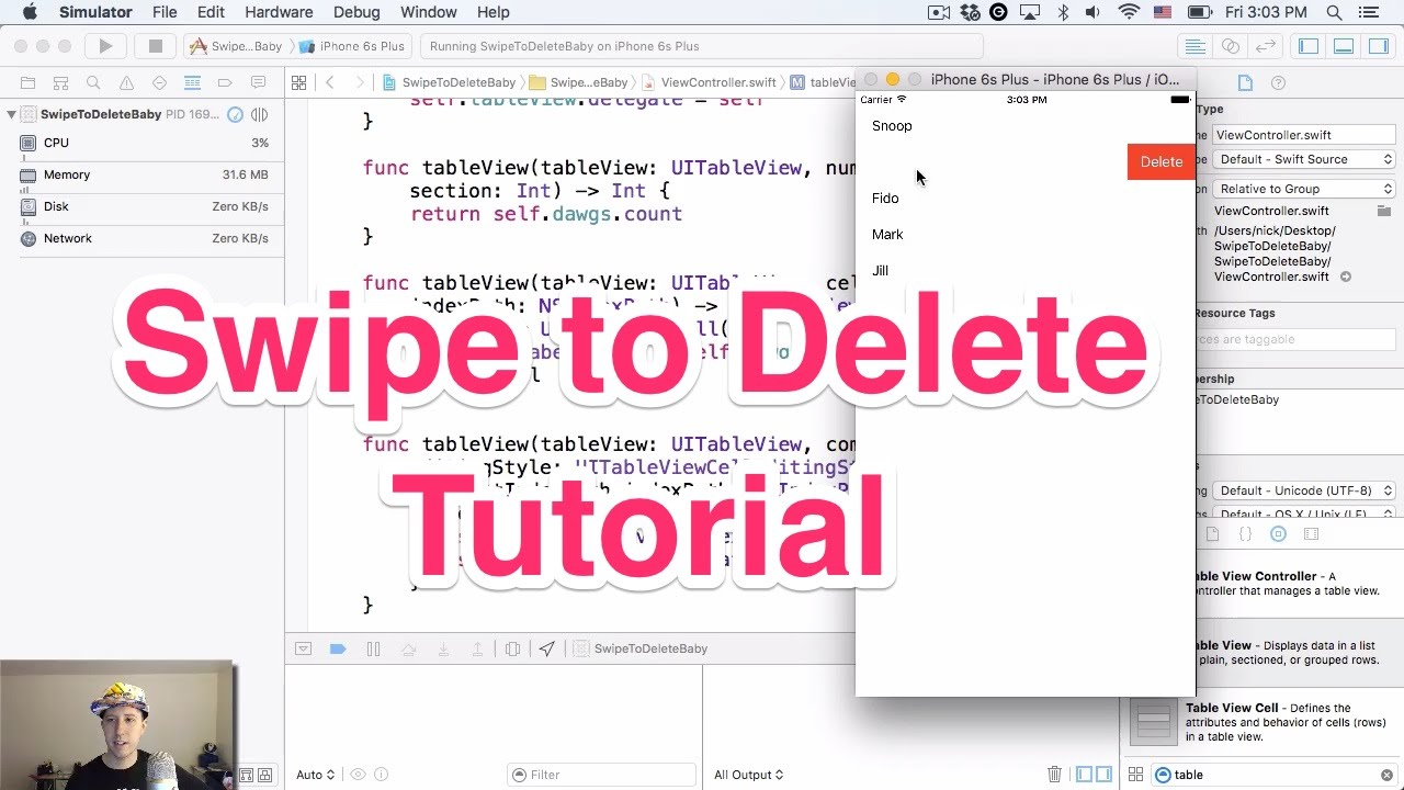 Swipe to Delete Tutorial for UITableview — Made up by People