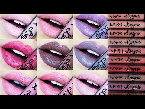 NYX LIP LINGERIE Liquid Lipsticks | Swatches & Review – All 12 Shades!!