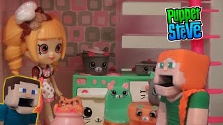 Shopkins Kitty Kitchen Bedroom Happy Places Playset pt 3 Unboxing Review w/ Puppet Alex, Steve