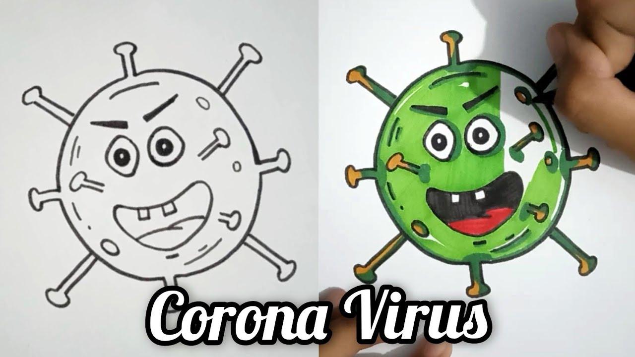 Corona Virus | Covid-19 Draw Step By Step |Menggambar Virus Corona ...