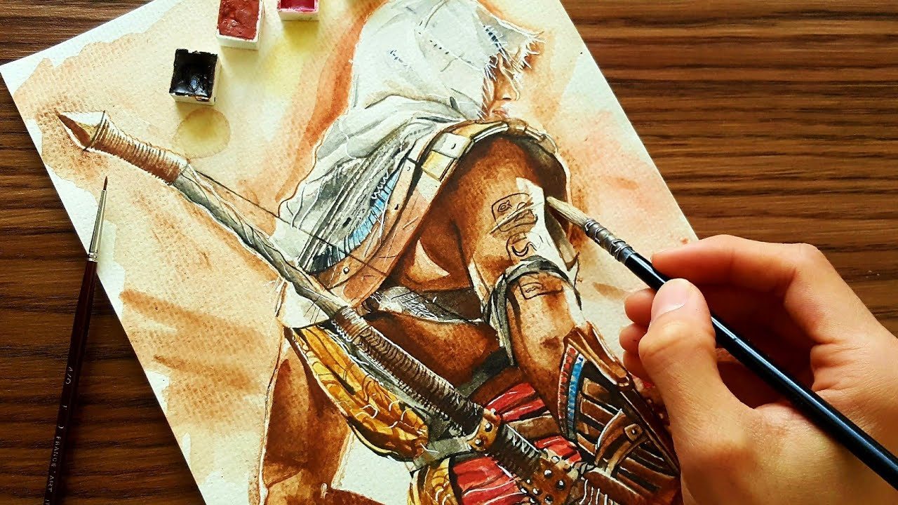 Speed Drawing Assassin S Creed Origins Bayek Watercolor Youtube