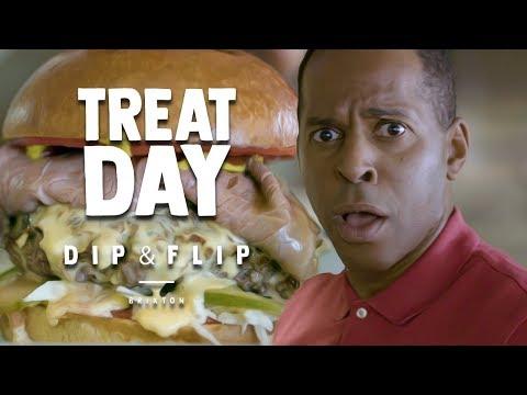 ANDI PETERS EATS THE INSANE 'DIP & FLIP' GRAVY BURGER | TREAT DAY - EPISODE #1