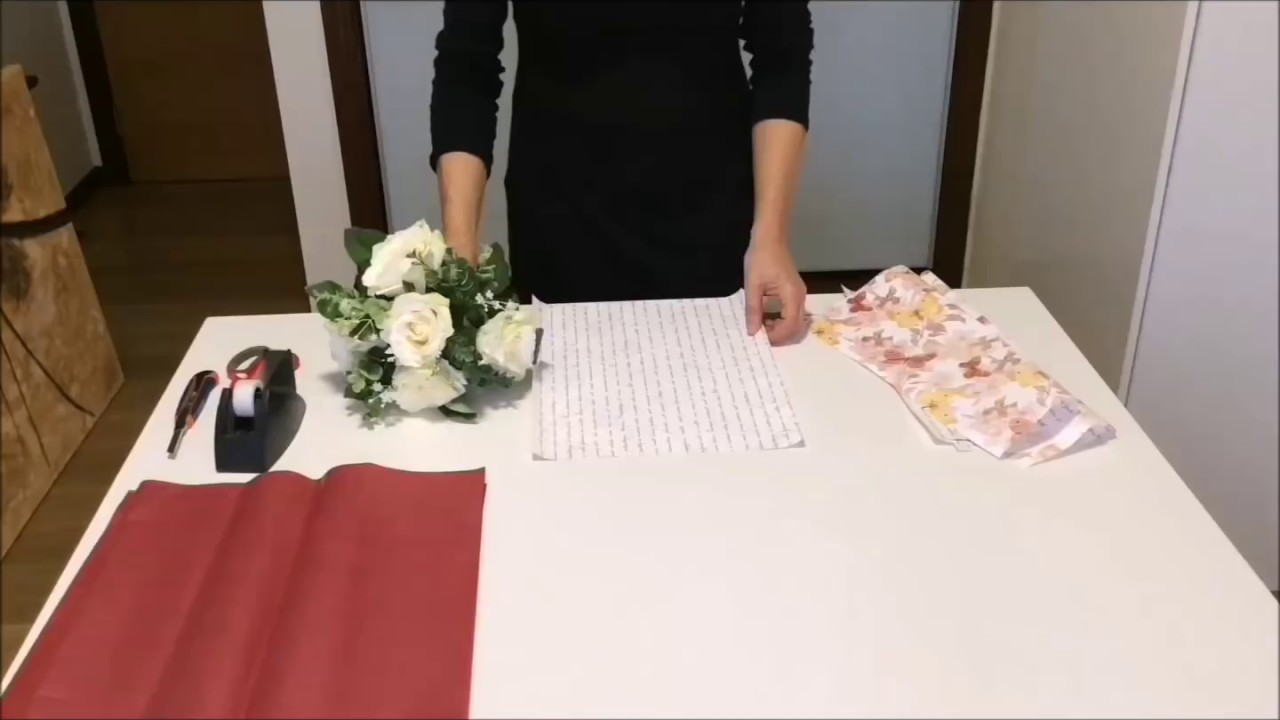 Bouquet With Double Cellophane And Tissue Paperwrapflowers Youtube