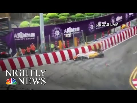 The Scary Moment A Teenage Formula 3 Driver Goes Airborne, Crashes During Race | NBC Nightly News