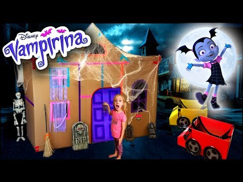 Vampirina's BOX FORT!!! Driving Cardboard Box Cars to Disney