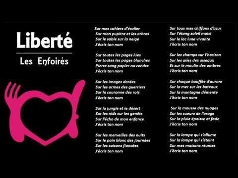 Liberté - Les Enfoirés (Paroles et musique)