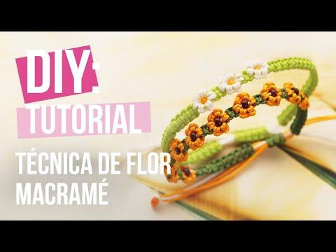 Creación de joyería: Técnica de flor macramé DIY