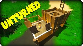 Unturned Gameplay - Zombie Survival Game - How To Make A House / Base ( Crafting Guide ) !