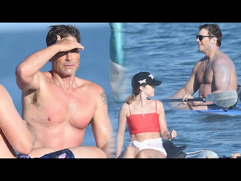 Rob Lowe Third-Wheels With Chris Pratt and Katherine Schwarzenegger for Beach Outing!