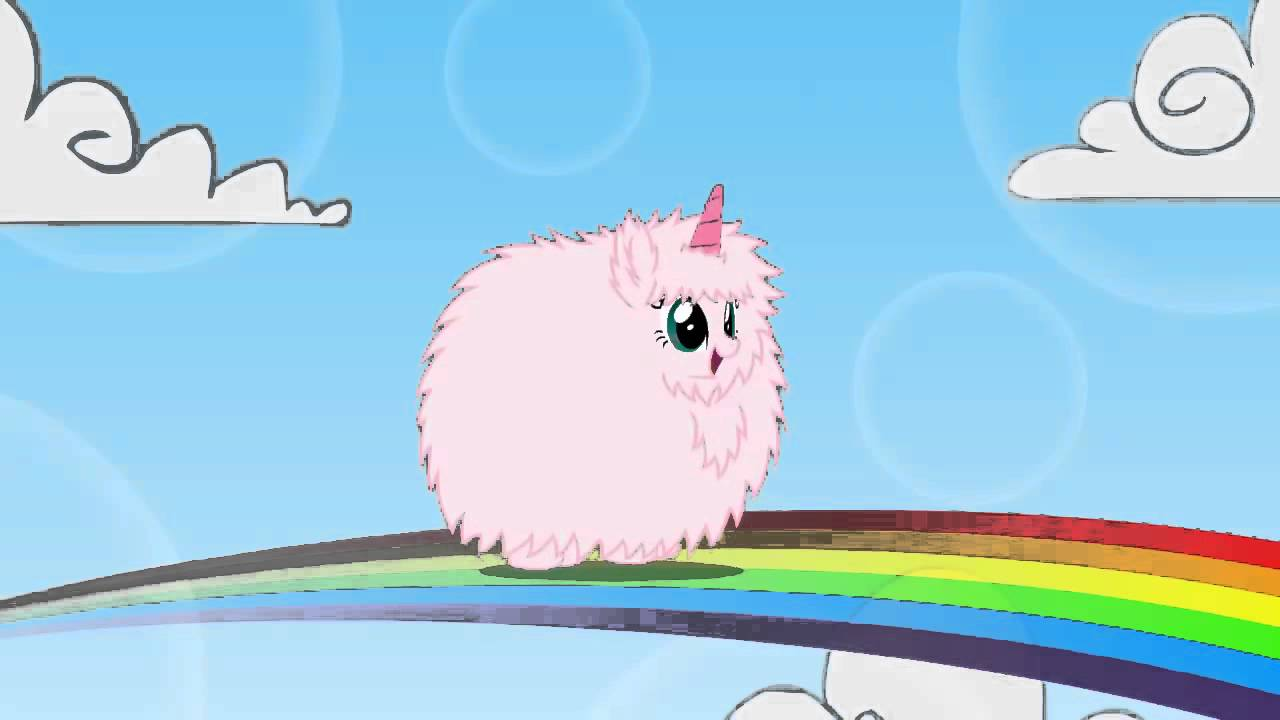 pink fluffy unicorn dansing on rainbows pfcudor