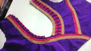 easy blouse back neck designe cutting and stitching at home 2017