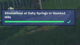 ✅ Eliminations at Salty Springs or Haunted Hills - Fortnite Week 2 Season 8