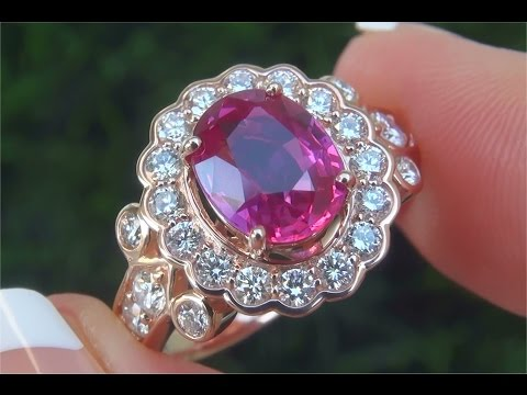 G.I.A. Certified UNHEATED Natural VVS Pink Sapphire Diamond 14k Rose Gold Engagement Ring - C102