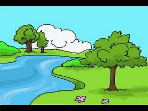 How to draw nature scenery youtube