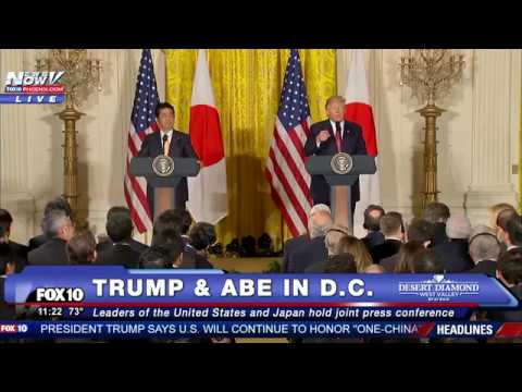 FNN: Donald Trump & Japan Prime Minister Shinzo Abe Hold Joint Press Conference at White House